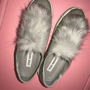 Steve Madden fur puff sneakers